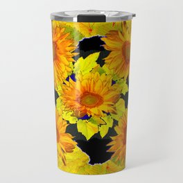 Golden Sunflowers & Leaves Pink-Black Patterns Travel Mug