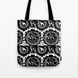 NYC Glam League Crest No. 5 in Black + White Tote Bag