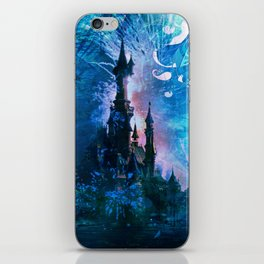 Blue Grunge Fairytale Fantasy Castle iPhone Skin