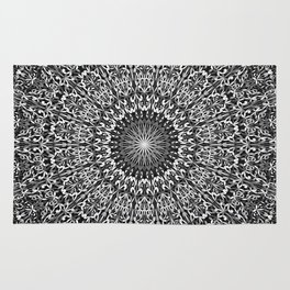 Grey Spiritual Mandala Garden Rug
