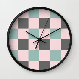 Contemporary Mint Pink Gray Gingham Pattern-Mix and Match Wall Clock