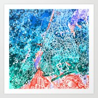 new york map Art Prints featuring new york new york map by Bekim ART