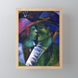 Green Lovers romantic Paris portrait painting by Marc Chagall Framed Mini Art Print