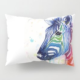 Zebra Watercolor Rainbow Animal Painting Ode to Fruit Stripes Pillow Sham