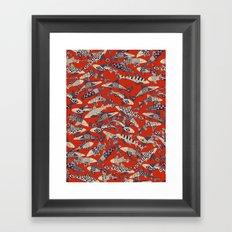 shark party red Framed Art Print