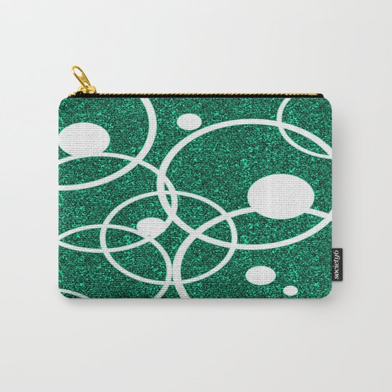 Circles on Green and Black Carry-All Pouch