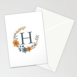Monogram H Orange Autumn Floral Wreath Stationery Cards