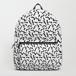 Black and White Memphis Squiggle Pattern Backpack