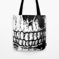 teeth Tote Bags featuring Teeth by Mike Hague Prints