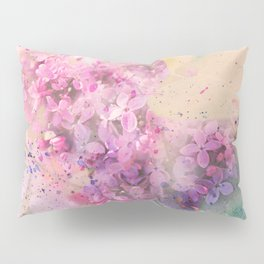 Watercolor lilac flowers on branch hand painted illustration Pillow Sham