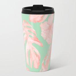 Tropical Palm Leaves Hibiscus Pink Mint Green Travel Mug