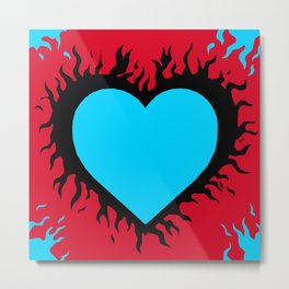 Flaming Heart Metal Print