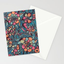 Sweet Spring Floral - melon pink, butterscotch & teal Stationery Cards