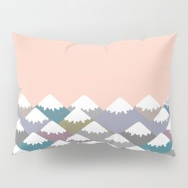 Nature background with Mountain landscape. Gray, pink, blue navy mountain with snow-capped peaks. Pillow Sham
