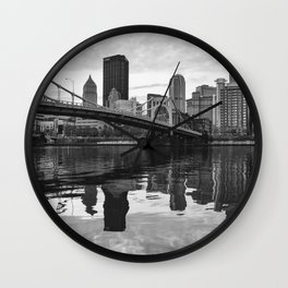 Black and White Wavy Reflections Wall Clock