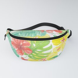 Tropical garden, hibisus, plumeria and palm leaves Fanny Pack