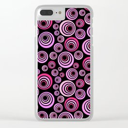 Pink and Purple Psychedelic Retro Pattern Clear iPhone Case
