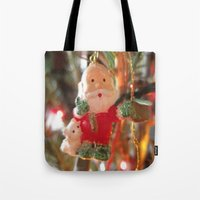 santa Tote Bags featuring Santa by lillianhibiscus