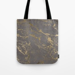 Modern Grey cement concrete gold marble pattern Tote Bag