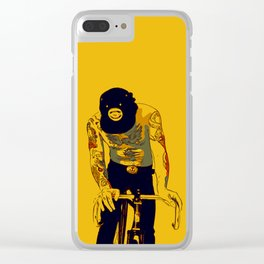 Men with tattoos on fixie bike Clear iPhone Case