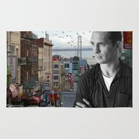 kerouac Area & Throw Rugs featuring Jack Kerouac San Francisco  by All Surfaces Design