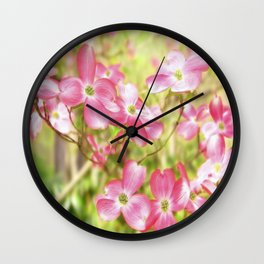 Pink Dogwood Flowering Tree In Spring Time Wall Clock