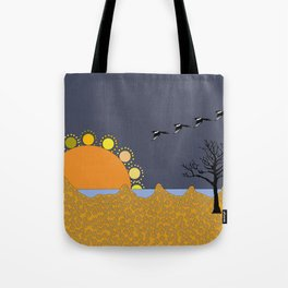 Magpies in sunset Tote Bag