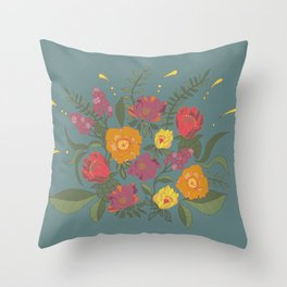 Folk flower arrangement - Spring blue Throw Pillow