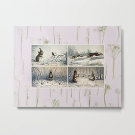 Vintage Rabbits Christmas Cards in Snow White Flowers Metal Print