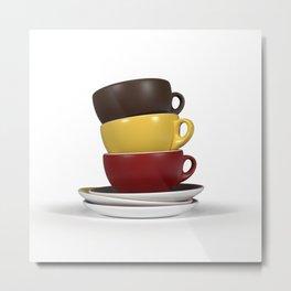 Coffee Cup Stack Metal Print