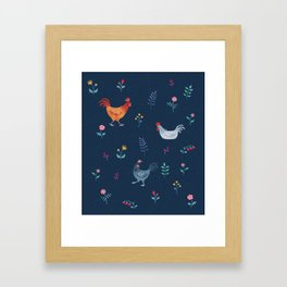 Little Hens (blue) Framed Art Print