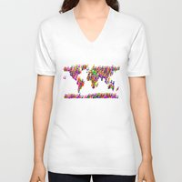 music notes V-neck T-shirts featuring World Map Music Notes by mailboxdisco