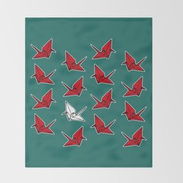 PAPER CRANES RED WHITE AND BLUE Throw Blanket