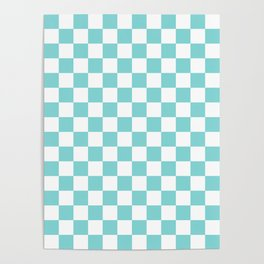 Gingham Pale Turquoise Checked Pattern Poster