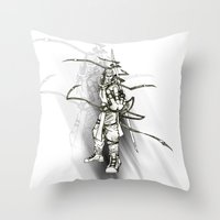 iron maiden Throw Pillows featuring Maiden by Andre Kang