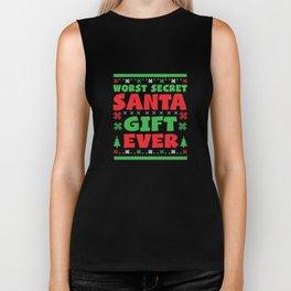 Funny Secret Santa Christmas Xmas Apparel Biker Tank