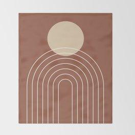 Mid Century Modern Geometric 3 (Terrocatta and beige) Throw Blanket
