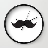 moustache Wall Clocks featuring Moustache by Hannah Ison