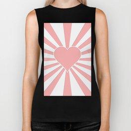 Pink Coral Valentine Love Heart Explosion Biker Tank