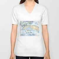 cuba V-neck T-shirts featuring Cuba Sharks by Carly Mejeur