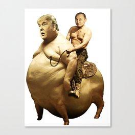 Putin riding Trump Canvas Print
