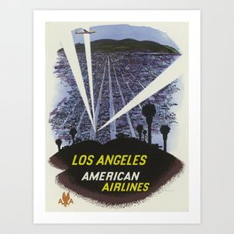 Los Angeles, American Airlines - Vintage Travel Poster Art Print