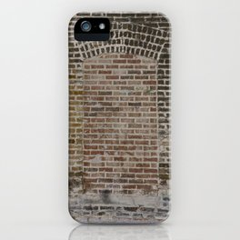 A Doorway in a Chicago Alley shows different brick and mortar patterns and a masonry arch iPhone Case