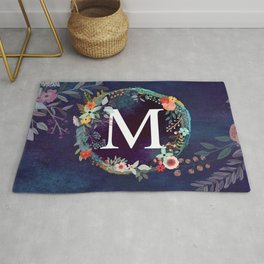 Personalized Monogram Initial Letter M Floral Wreath Artwork Rug