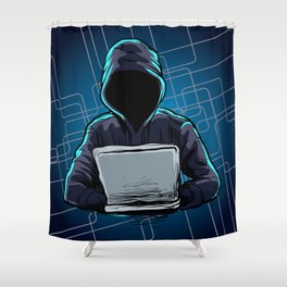 Computer hacker spread a net Shower Curtain