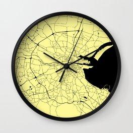 Yellow on Black Dublin Street Map Wall Clock