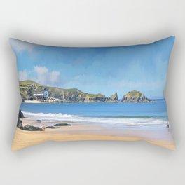 Mother Ivey's Bay, Cornwall, Original Art Rectangular Pillow