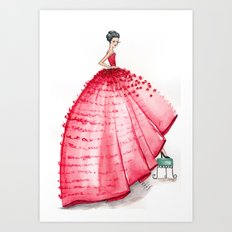 Red Couture Gown Watercolor Fashion Illustration Art Print
