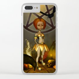 Halloween design with pumpkin,crow and little girl Clear iPhone Case