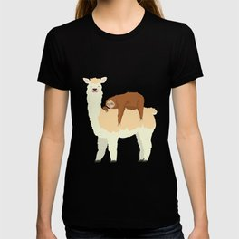 Cute Llama with a Sleeping Sloth Gift T-shirt